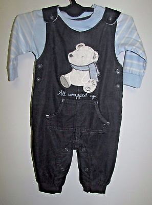Baby Boys Outfit Worn Once 0-3 Months Dungarees & Top Great Condition