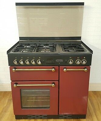 Rangemaster  90Cm Dual Fuel Range Cooker In Cranberry  And Brass