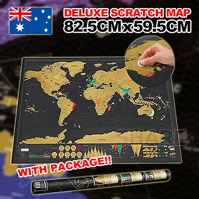 Deluxe Large Scratch Map Personalised World Map Travel AtlasTravel Gift Decor