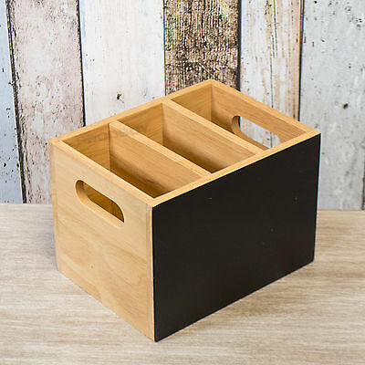3 Compartment Chalk Wooden Crate Storage Box Cutlery Caddy Condiment Pot Holder