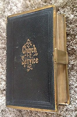 CHURCH SERVICE - The Book Of Common Prayer 1870 Leather Bound Brass Clasp