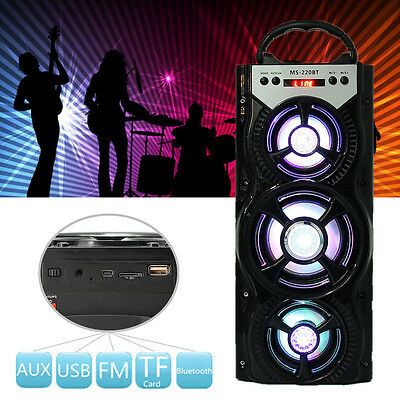 Outdoor Portable Wireless Bluetooth Speaker Super Bass With USB/TF/AUX/FM Radio