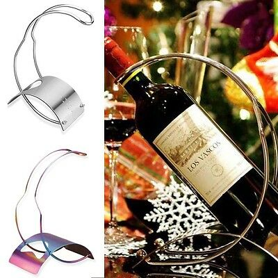 Durable Curved Stainless Steel Single Bottle Wine Rack Simple Frame Metal Rack