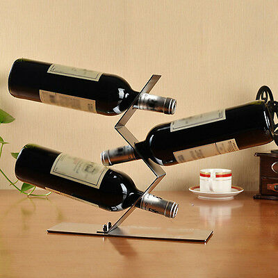 Stainless Steel S-type Wine Holder W/3 Holes Wine Rack Bar Kitchen Decoration