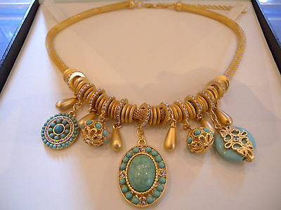 Turquoise Blue stone Choker necklace,Gold crystal choker chain pendant