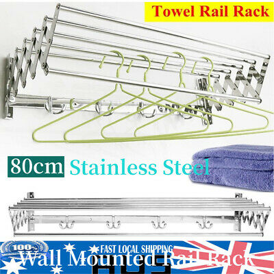 80cm Stainless Steel Clothes Airer Wall Mounted Laundry Drying Rack Foldable