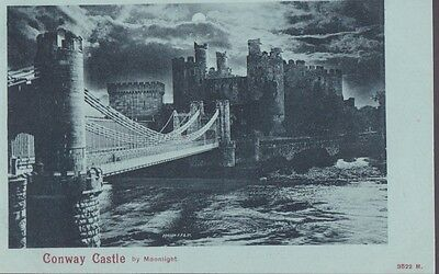 RA 38b rare old uncirculated vintage postcard  CONWAY CASTLE BY moonlight