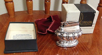 "Ronson Table  Lighter  ""CROWN"" w/ original box   Heavy silverplate"