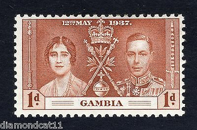1937 Gambia 1d Brown Coronation SG147 Fine Used R12813