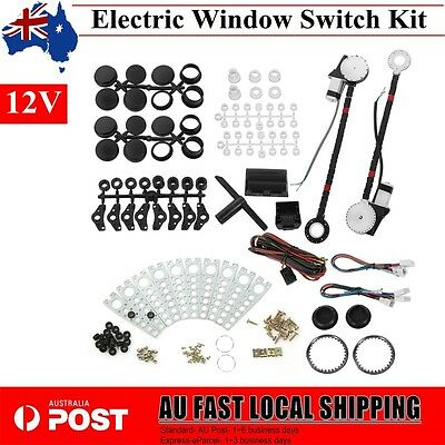 2-Door Universal Car Power Electric Windows Conversion Kit DC 12V w/ 2 Switches