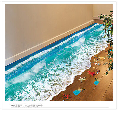New 3D waterproof wall/floor Space stickers Room Removable Room Decor Mural