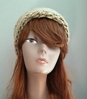 Tan/Beige Hand Knit Headband, Ear Muff Warmer, Fashion Head Wrap!