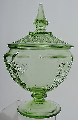 Vintage Uranium Green Depression Glass Glassware Lidded Jar Vase Urn
