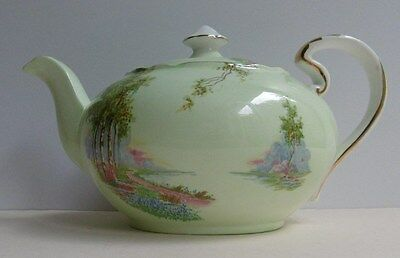 Vintage Aynsley Teapot Bluebell Time Green