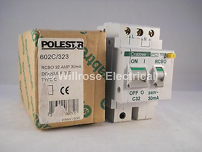 Crabtree Polestar RCBO 32 Amp 30mA Double Pole C32 Type C 32A 602C/323 NEW