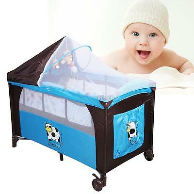 7 In 1 Portable Baby Child Travel Cot Bed Bassinet  Play Pen Playpen w/ Entryway