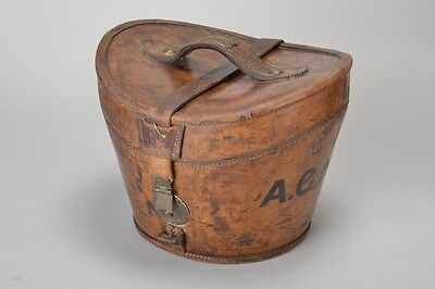 Fine Quality Late C19th Leather Bucket Shaped Hat Box Or Case . ATOJ