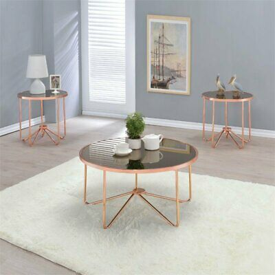 Swell Acme Alivia Coffee Table In Smoky Glass And Rose Gold Machost Co Dining Chair Design Ideas Machostcouk