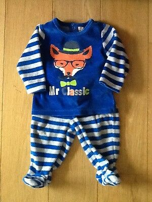 9 Months | Blue Stripey Mr Fox Pyjama Soft Velour/Cotton Mix | Orchestra Bebe