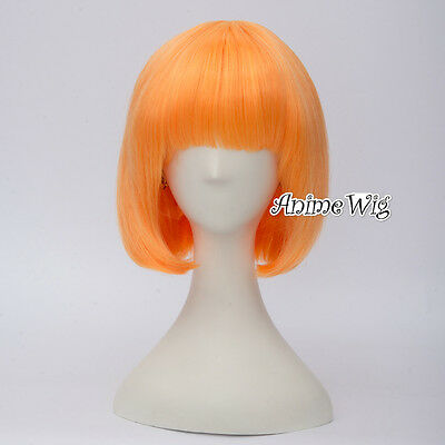 Fashion Light Orange Short 30CM Bob Lolita Lady Cosplay Wig + Wig Cap
