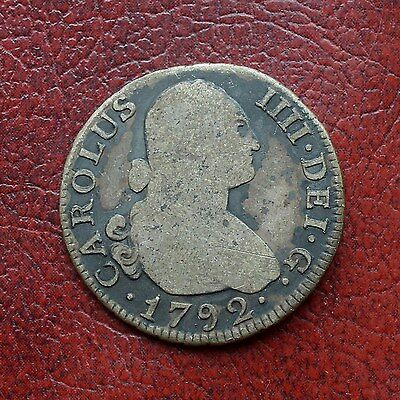 Spain 1792MF silver 2 reales