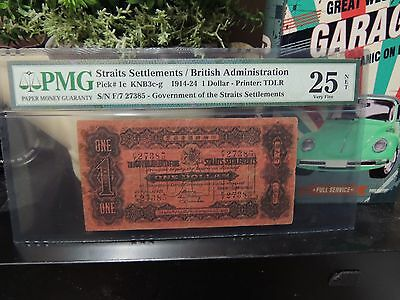 Straits Settlements $1 Pink Note 1921 ~ PMG 25 (Very Fine)