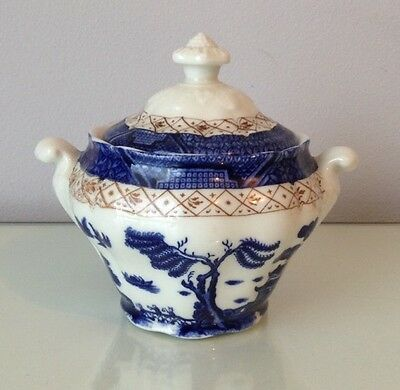 Royal Doulton Booths Real Old Willow Lidded Sugar Bowl Blue White China