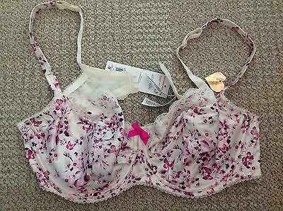 J92 1980s F&F Signature Pink Floral Satin Nylon and Lace Underwired Bra NWST