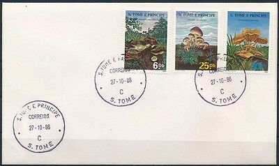 Sao Tomé and Principe stamp Mushrooms set on FDC Cover 1986 Mi 955-957 WS233822
