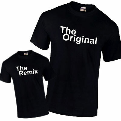 The Original & The Remix Father Son Daughter Gift Pair of Black PREMIUM T-Shirts
