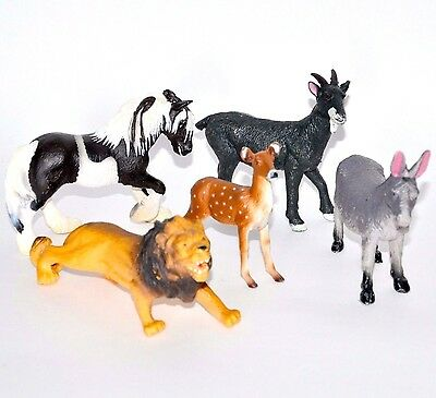 Animal figures Papo Schleich NF 5pcs deer horse goat donkey lion figurines toys