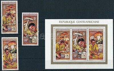 Central African Republic stamp Mushrooms, scout set + minisheet + block WS233962