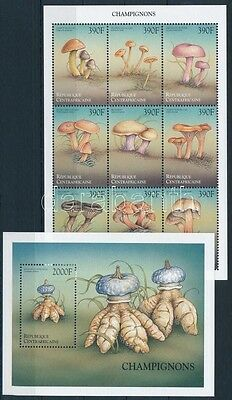 Central African Republic stamp Mushrooms minisheet + block MNH 1999 WS233965