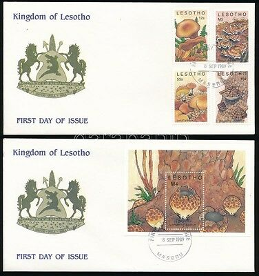 Lesotho stamp Mushrooms set + block on 2 FDC Cover 1989 WS233917