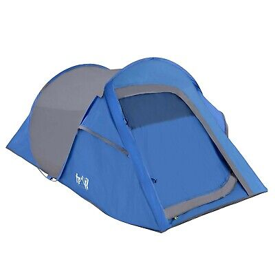 2 Man Pop Up Tent Quick Pitch Festival Camping With Porch Waterproof 2000mm HH