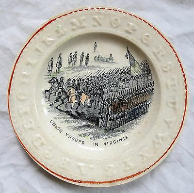 Civil War Theme ABC Child's Plate Union Troops in Virginia Old Vtg Antique