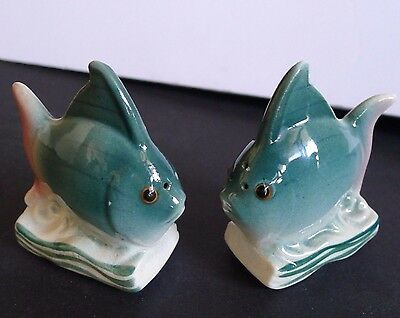 Green and Pink Vintage Ceramic Salt and Pepper ANGEL FISH Real Cork