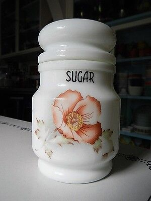 Vintage Giorgi Milk Glass Sugar Canister Jar Floral Poppy Flower Pink Green