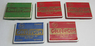 5 Vintage GOLD TIP GUM Boxes, Chewing Gum Boxes, 3 colors, cardboard adv. boxes