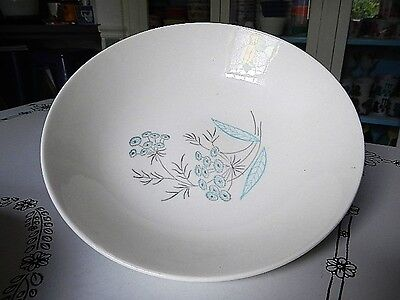 MCM Royal Stetson USA China Maytime Aqua Blue & Gray Floral Large Serving Bowl