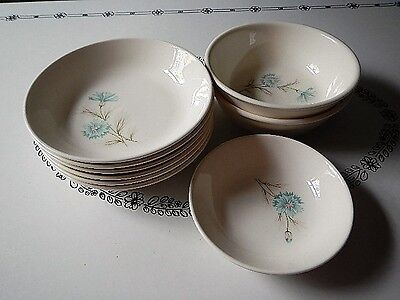 Taylor Smith & Taylor T.S.T. Boutonniere Large Lot of 9 Bowls Aqua Blue Flower