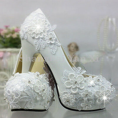 Women White Flower Lace Pearls Crystal High Heels Platform Wedding Bride shoes