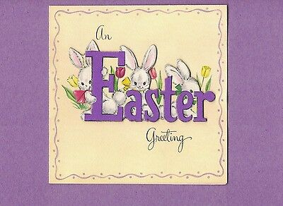 0217E  Vtg Easter Greeting Card Hallmark Three White Bunny Rabbits Tulips