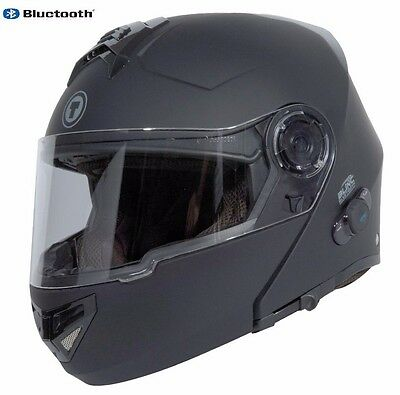 Matte Black Full Face  Modular Motorcycle Helmet with  Built In Bluetooth