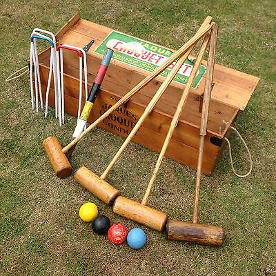 Jaques of London Croquet set traditional  in beautiful varnished wooden box
