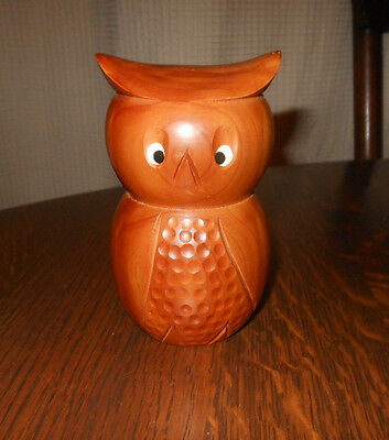 """vintage  carved WOODEN OWL 4.5"""" collectible"""
