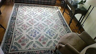 Hand  Made Looped MURRAY 7 X 9 LOOPED Hooked RUG WOOL FLORAL GARDEN CAPE COD