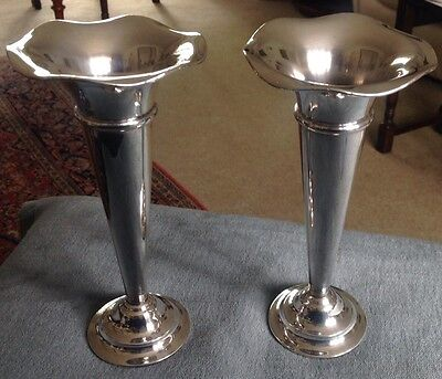 A Pair Of Silver Plated Vases. Mappin & Webb. Princes Plate.