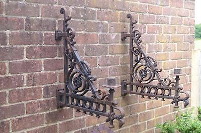 ANTIQUE Reclaimed Pair of CAST IRON LANTERN HOLDER Wall / Post BRACKETS