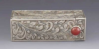 Lovely Vintage Italian Silver Carnelian Engraved Lipstick Holder / Case